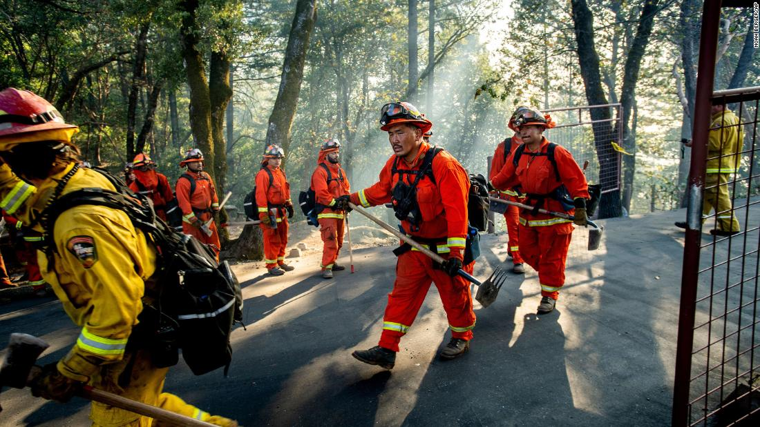 Inmate firefighters battle the Kincade Fire near Healdsburg, California, on October 29.