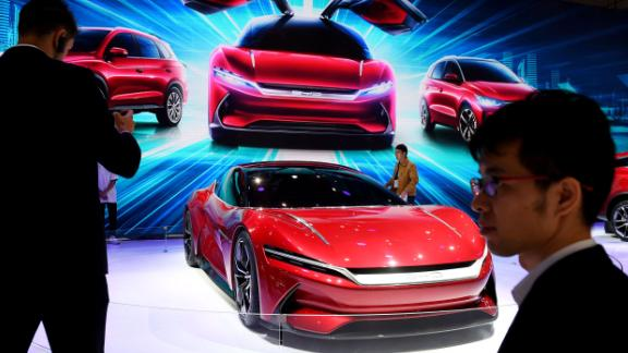BYD displaying an electric concept car at the Shanghai Auto Show in April. The Chinese carmaker recently said its sales were hit by the lowering of subsidies.