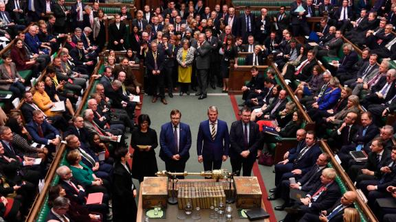 In this photo provided by the UK Parliament, British Members of Parliament vote in favour of the Creasy amendment to the Election Bill, in the House of Commons, London, Tuesday, Oct. 29, 2019.  After months of stalemate in Parliament, Britain appeared on course Tuesday for an early general election that could break the country's political deadlock over Brexit. Opposition lawmakers backed in principle the government's request to send voters to the polls in December —though Prime Minister Boris Johnson still faced a tussle over the exact date. (UK Parliament/Jessica Taylor via AP)