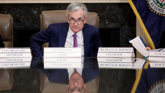 """WASHINGTON, DC - OCTOBER 04: Federal Reserve Board Chairman Jerome Powell attends an event at the Federal Reserve headquarters October 4, 2019 in Washington, DC. Powell participated in a """"Fed Listens"""" event on """"Perspectives on Maximum Employment and Price Stability."""" (Photo by Win McNamee/Getty Images)"""