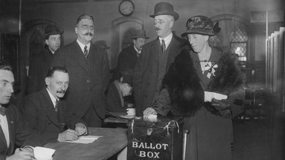 A polling station during the UK's last December election in 1923.