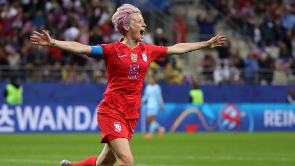 US captain Megan Rapinoe celebrates  scoring her team's ninth goal against Thailand in the World Cup. Apart from leading the team to triumph on the field, Rapinoe has used her platform to fight for equality off of it.