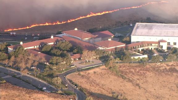 The Easy Fire burns near the Ronald Regan Presidential Library.