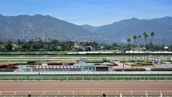 The San Gabriel mountains are seen near the Santa Anita horse racing park on June 10, 2019 in Arcadia, California. - The owners of the park, the Stonach Group released a joint statement, on June 9, 2019, with the Thoroughbred Owners of California and California Thoroughbred Trainers saying the race track will remain open until the season ends, resisting calls to close the track after 2 more horses died, bringing the total number of dead horses to 29 since December 2018. (Photo by Frederic J. BROWN / AFP)        (Photo credit should read FREDERIC J. BROWN/AFP/Getty Images)
