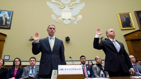 Ken Cuccinelli, Acting Director, U.S. Citizenship and Immigration Services, U.S. Department of Homeland Security and Matthew Albence, Acting Director, U.S. Immigration and Customs Enforcement, on Wednesday, October 30.