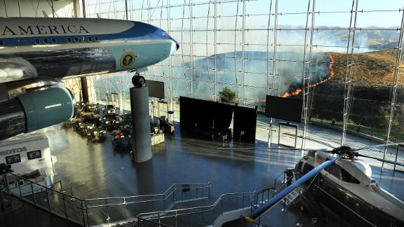 Former US President Ronald Reagan's Air Force One sits on display at the Reagan Presidential Library as the Easy Fire burns.
