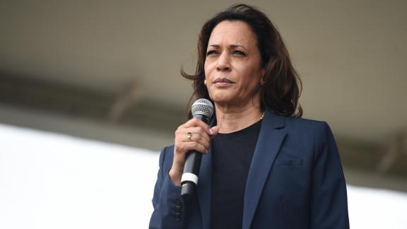 Democratic presidential candidate Sen. Kamala Harris speaks at the Blue Jamboree on Saturday, October 5 in North Charleston, South Carolina.