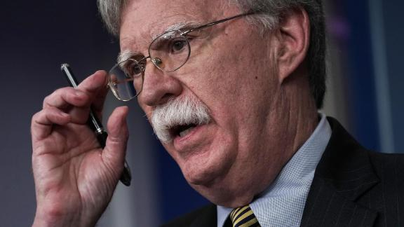 Then-national security adviser John Bolton speaks during a White House news briefing at the White House on October 3 in Washington, DC.