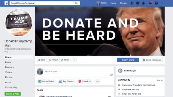 The fake page which Facebook removed after CNN contacted the company