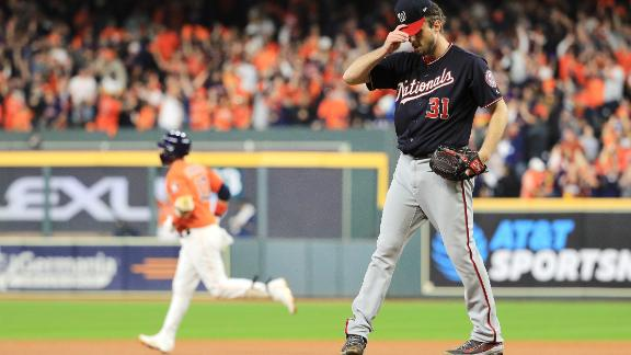 Washington starter Max Scherzer reacts after allowing a solo home run to Yuli Gurriel in the second inning of Game 7.