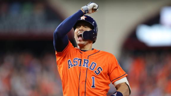 Correa celebrates his RBI single that gave the Astros a 2-0 lead in Game 7.