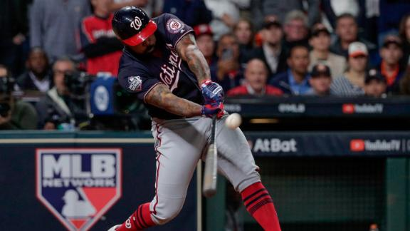 Kendrick connects on his seventh-inning home run. Teammate Anthony Rendon hit a solo home run earlier in the inning to put the Nationals on the board.