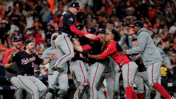 The Washington Nationals celebrate after winning the World Series on Wednesday, October 30. The Nationals defeated the Houston Astros 6-2 to win Game 7 and their first title in franchise history.