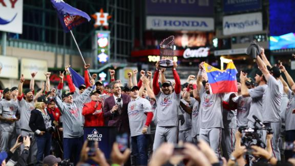 HOUSTON, TEXAS - OCTOBER 30: The Washington Nationals celebrate after defeating the Houston Astros in Game Seven to win the 2019 World Series at Minute Maid Park on October 30, 2019 in Houston, Texas. The Washington Nationals defeated the Houston Astros with a score of 6 to 2. (Photo by Mike Ehrmann/Getty Images)
