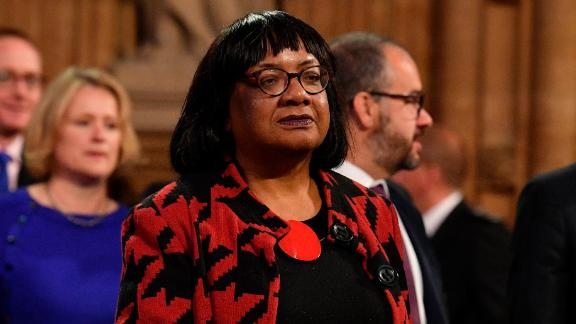 LONDON, ENGLAND - OCTOBER 14: Labour Party Shadow Home Sedretary Diane Abbott walks through the Central Lobby back to the House of Commons after the Queen's Speech during the State Opening of Parliament at the Palace of Westminster on October 14, 2019 in London, England. The Queen's speech is expected to announce plans to end the free movement of EU citizens to the UK after Brexit, new laws on crime, health and the environment. (Photo by Daniel Leal-Olivas - WPA Pool / Getty Images)