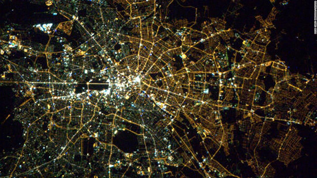 This photo, taken in 2013 from the International Space Station, shows the former division in Berlin is still visible.