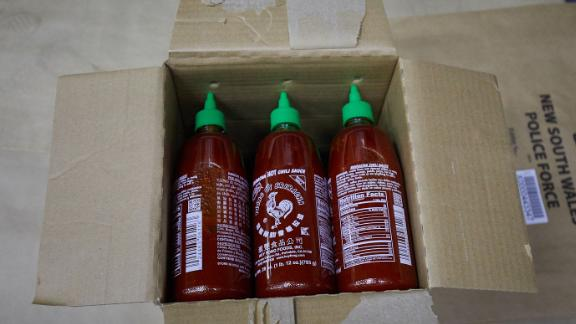 The meth smuggled inside Sriracha bottles was destined for a Sydney drugs lab, police said.