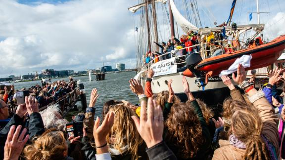 The activists set off from Amsterdam on October 2.