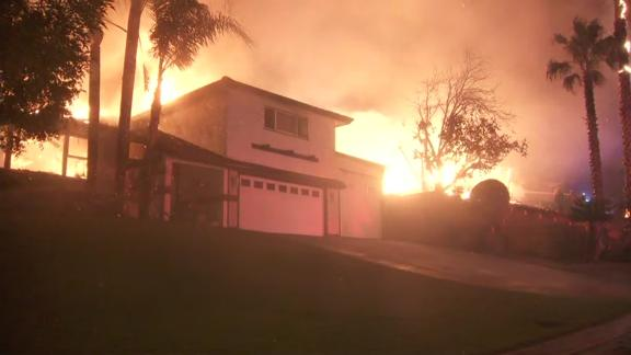 A fire broke out and threatened homes near Waterman Canyon at the northern end of San Bernardino early Thursday, officials said. The blaze, dubbed the Hillside Fire, was reported about 2 a.m. along Highway 18, at Lower Waterman Canyon, according to the San Bernardino County Fire Department. It had consumed more than 200 acres less than an hour later. Firefighters got in positions for structure defense as they worked to douse the flames. Aerial footage from Sky5 showed at least one structure engulfed in flames. Evacuations were ordered, including for the Northpark neighborhood, but it was not immediately clear how many homes were affected. An evacuation center was set up at Pacific High School, 1020 Pacific Street in San Bernardino.