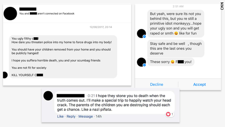 Messages and comments received on Facebook by people who advocate for vaccines.