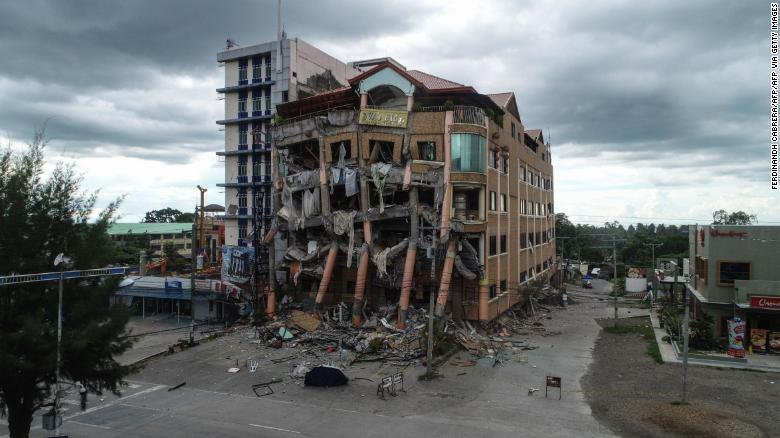 A damaged building after a 6.5-magnitude earthquake hit Kidapawan town, north Cotabato province, on the southern island of Mindanao on October 31, 2019