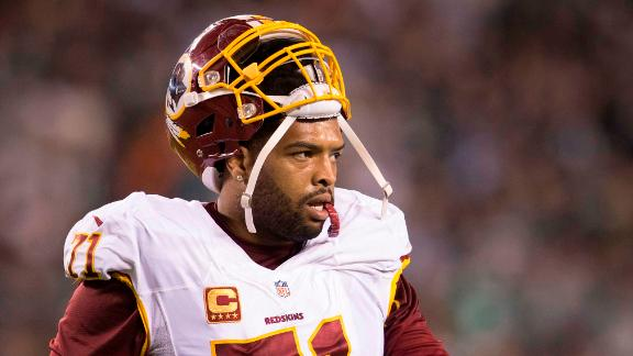Trent Williams walks off the field during a game against the Philadelphia Eagles on December 26, 2015 at Lincoln Financial Field in Philadelphia.