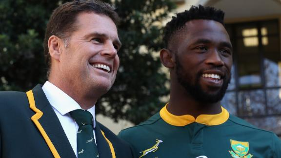 MONTECASINO, SOUTH AFRICA - JUNE 08:  Siya Kolisi, the first non white, captain of the South Africa Springboks poses with head coach Rassie Erasmus during the South Africa media session held at the Pivot Hotel on June 8, 2018 in Montecasino, South Africa.  (Photo by David Rogers/Getty Images)