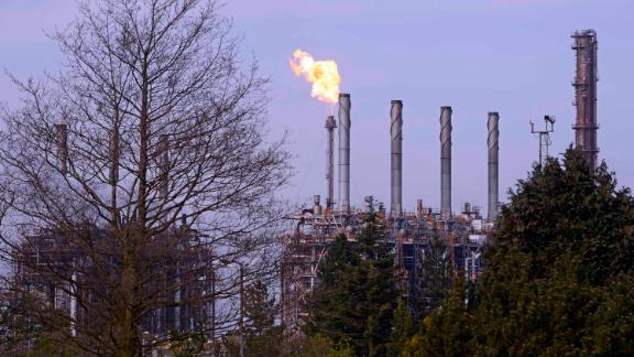 """COWDENBEATH, SCOTLAND - APRIL 23: ExxonMobil's Fife Ethylene Plant where """"unplanned flaring"""" following a malfunction has caused concern amongst local residents, on April 23, 2019 in Cowdenbeath, Scotland. Flaring at the ethylene plant is part of a safety protocol, but has caused concern in the local area with residents taking to social media to complain of the loud roaring noise from the flare stack, and a lingering chemical smell in the atmosphere. The incident is being monitored by the Scottish Environmental Protection Agency. (Photo by Ken Jack/Corbis via Getty Images)"""
