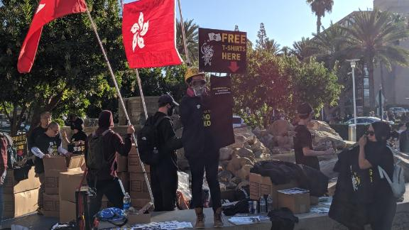 A photo taken of the protests in Anaheim, California as people begin to arrive and set up Friday.