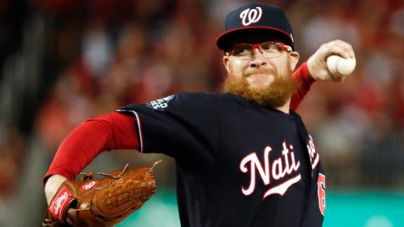 Washington Nationals relief pitcher Sean Doolittle throws during the seventh inning of Game 5 of the baseball World Series against the Houston Astros Sunday, Oct. 27, 2019, in Washington.