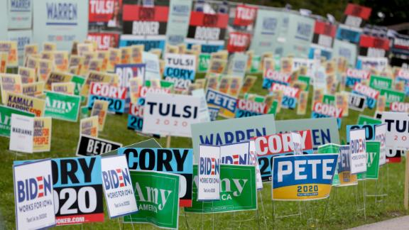 Election signs of the various democratic candidates are planted at the Polk County Democrats Steak Fry, in Des Moines, Iowa, in September 2019.