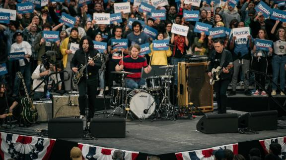 Guitarist and songwriter Jack White performs at a campaign rally for Senator (I-VT) and presidential candidate Bernie Sanders at Cass Technical High School on October 27, 2019 in Detroit, Michigan.