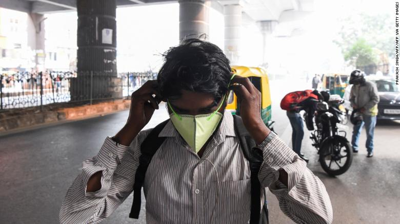 A man wears a face mask in New Delhi on October 31, 2019.