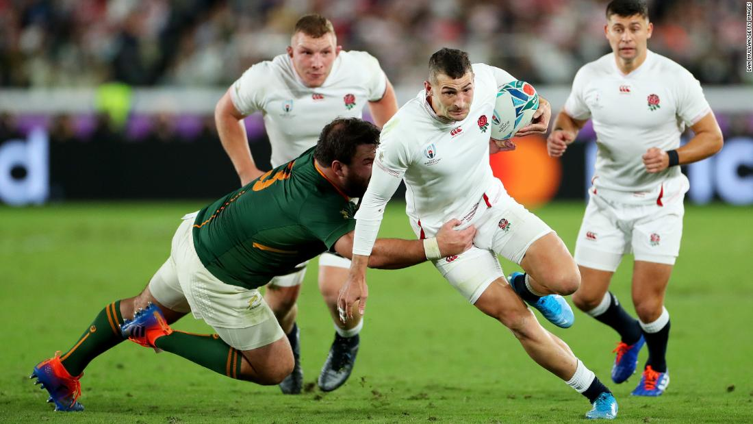 Jonny May of England breaks past Frans Malherbe of South Africa. England won the World Cup in 2003, but have now lost two finals to South Africa -- in 2007 and 2019.