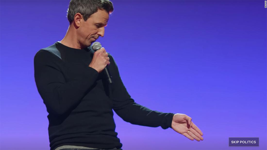 """Netflix added a """"skip politics"""" button to a segment of Seth Meyers' new comedy special """"Lobby Baby"""", following a request from the comedian (Frank Pallotta/CNN)"""