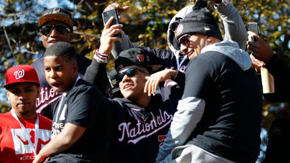 Washington Nationals left fielder Juan Soto, center, celebrates with teammates before a parade to celebrate the team's World Series baseball championship over the Houston Astros, Saturday, Nov. 2, 2019, in Washington. (AP Photo/Patrick Semansky)