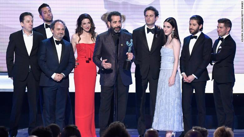 """Brian Tarantina, far left, and the rest of """"The Marvelous Mrs Maisel"""" cast accept a Screen Actors Guild award at The Shrine Auditorium in Los Angeles in January."""