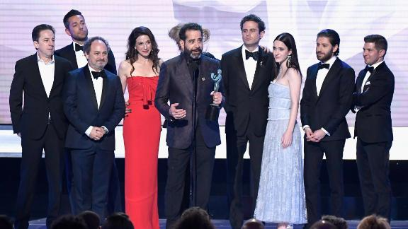 """Brian Tarantina, far left, and the rest of """"The Marvelous Mrs Maisel"""" cast accept a Screen ActorsGuild award at The Shrine Auditorium in Los Angeles in January."""