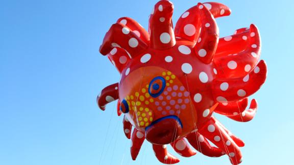 Love Flies up to the Sky by Yayoi Kusama is seen as Macy's unveils new balloons for the 93rd annual Macy's Thanksgiving Day Parade on November 2 in East Rutherford, New Jersey.