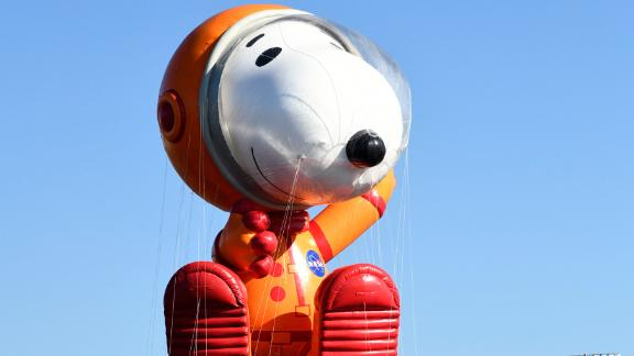 Astronaut Snoopy by Peanuts Worldwide is seen on the test flight on November 2