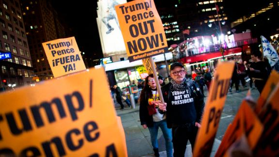 People take part in a protest against President Donald Trump and his administration policies at Madison Square Garden on Saturday, Nov. 2, 2019, in New York. (AP Photo/Eduardo Munoz Alvarez)