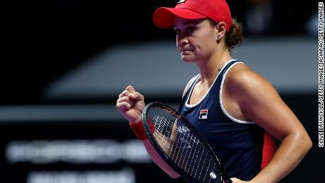 Ashleigh Barty of Australia took the opening set of the WTA Finals title match against Elina Svitolina on a single break of service.