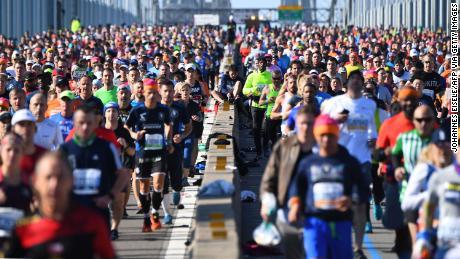 Runners cross the Verrazzano Narrows Bridge during the Sunday Marathon in NYC.