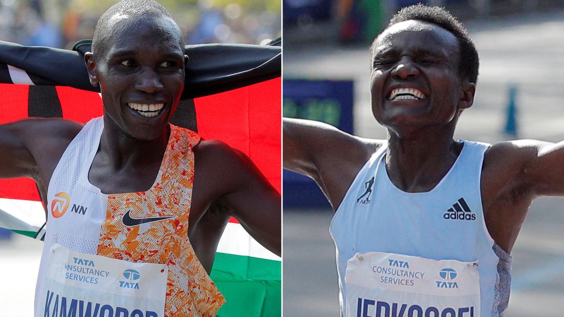 Frau erzielt aufgeregt in New-York-Marathon-Debüt