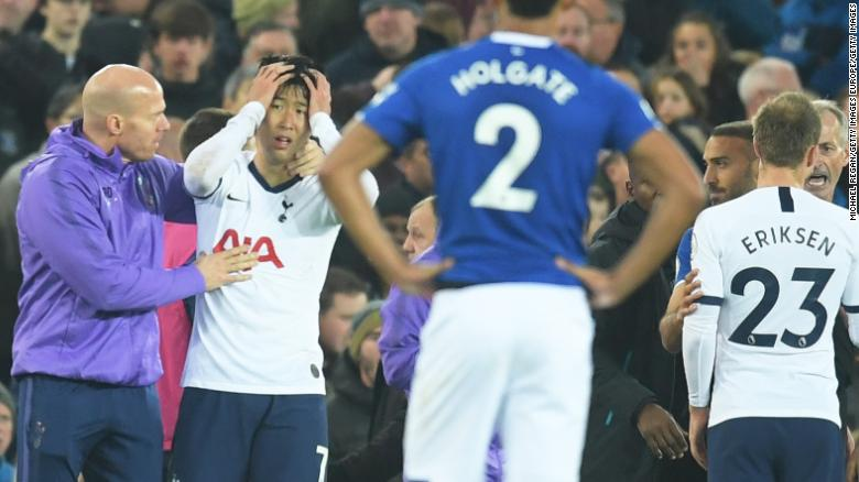 Son Heung-Min was distraught after his challenge on Andre Gomes led to a serious injury.