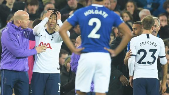 Son Heung-Min of Tottenham Hotspur is distraught after his challenge on Andre Gomes led to a serious injury for the Everton star and a red card for the South Korean.