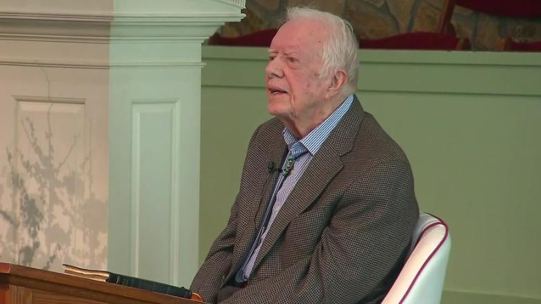 See Jimmy Carter teach Sunday school following injury