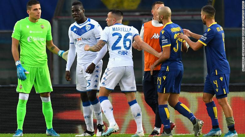 Mario Balotelli was subjected to racist abuse in a game at Verona on Sunday.