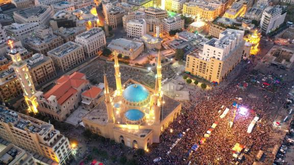 An aerial view shows thousands of Lebanese protesters gathered in Beirut