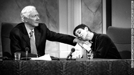 Gay Byrne and musician Sinead O'Connor on the final episode of the Late Late Show on May 21, 1999.